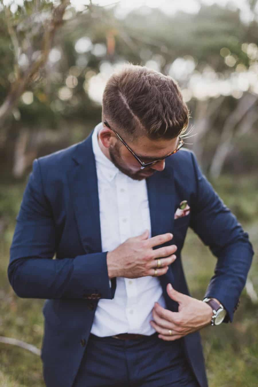 Best groom styles of 2016 - hipster groom in cobalt blue suit by Wil Valor
