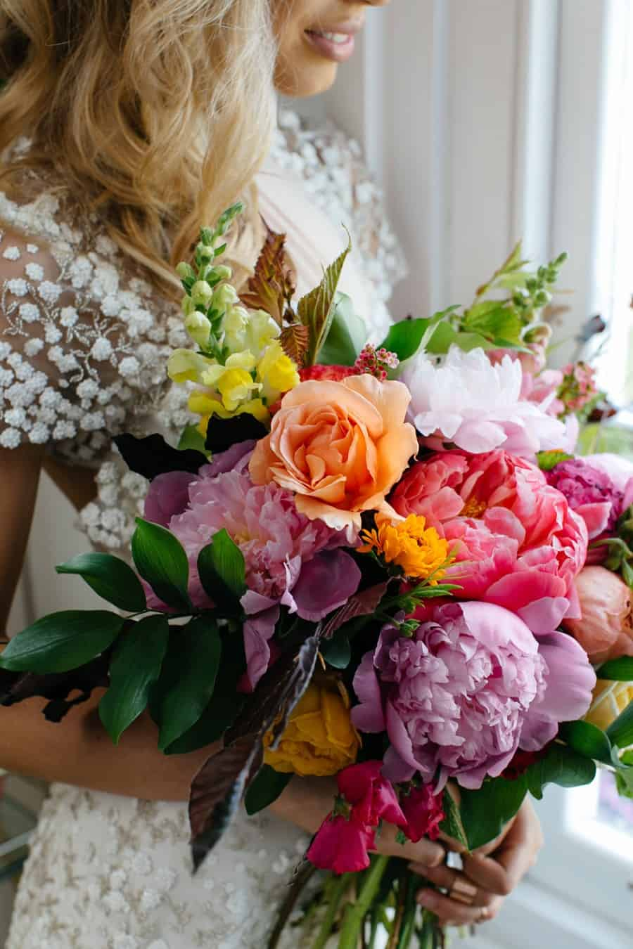 best wedding bouquets 2016 - colourful peony bouquet