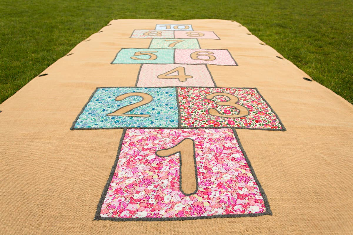 Lawn game hire Melbourne - Liberty print hopscotch