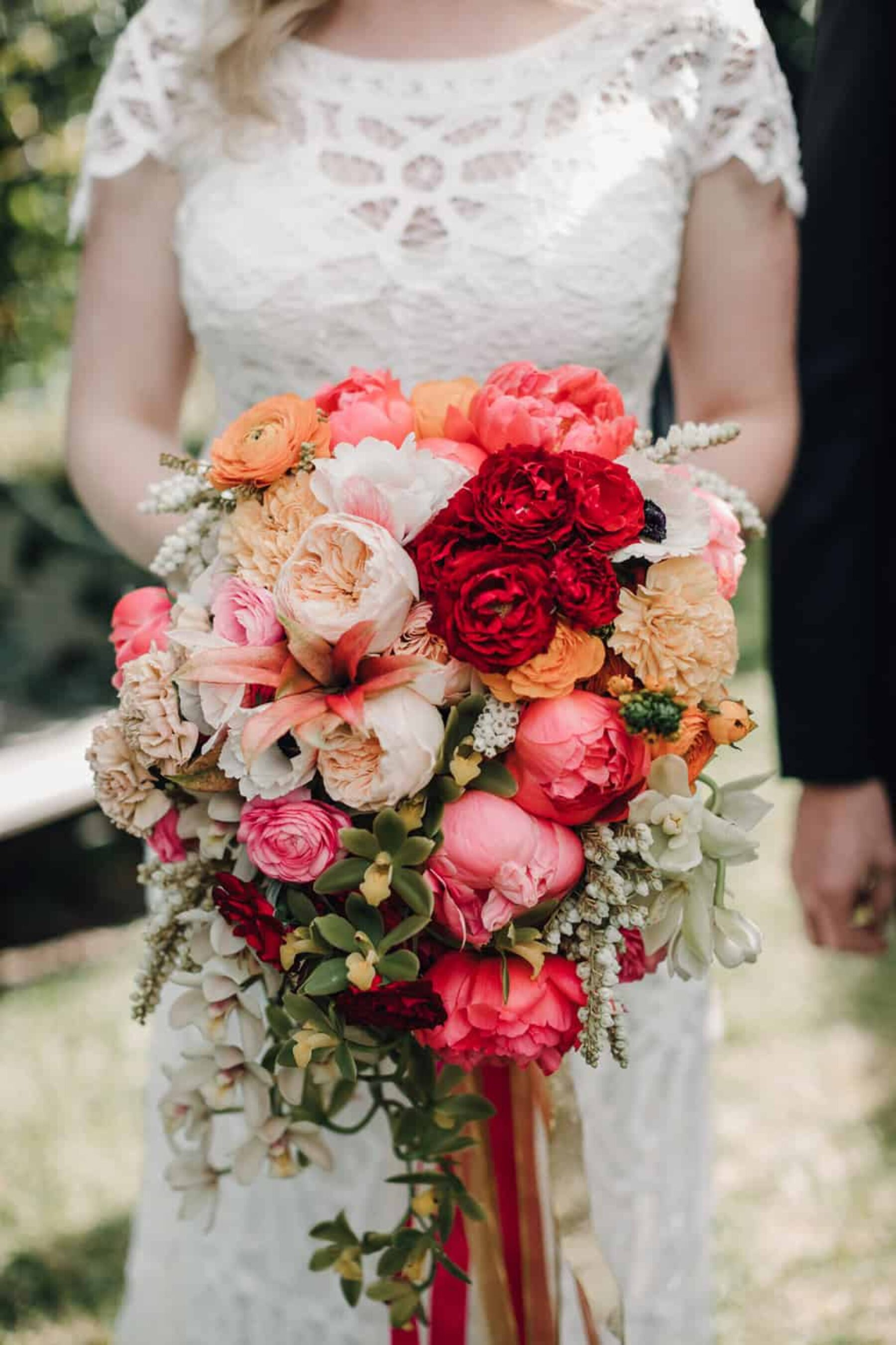 peach and pink peony bouquet