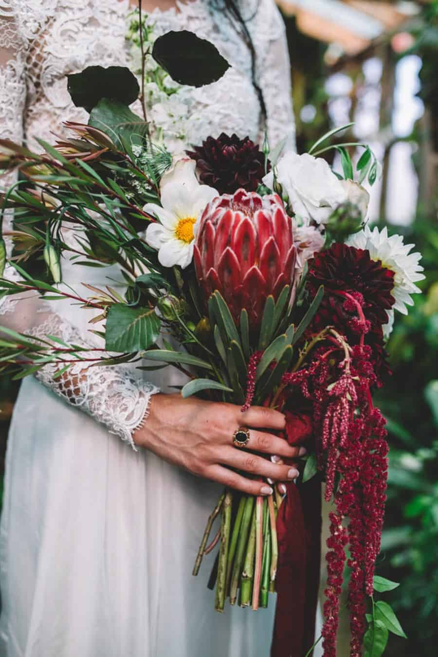 best wedding bouquets 2016 - protea and amaranth bouquet