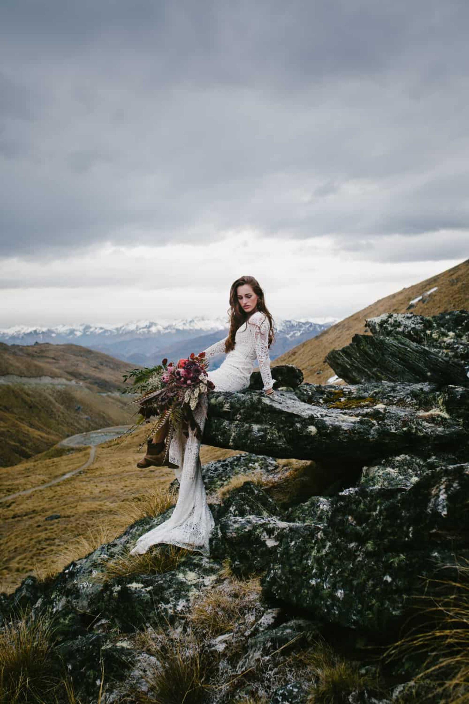 Dramatic mountain wedding editorial in Queenstown NZ