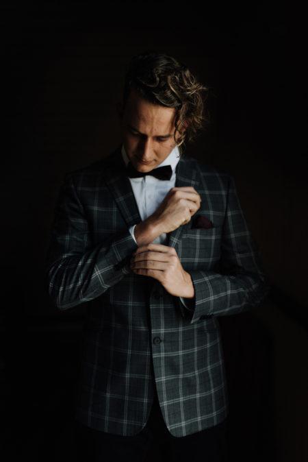 groom in check blazer