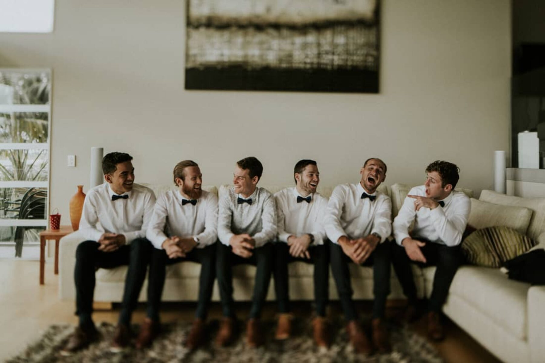 groom and groomsmen getting wedding-ready