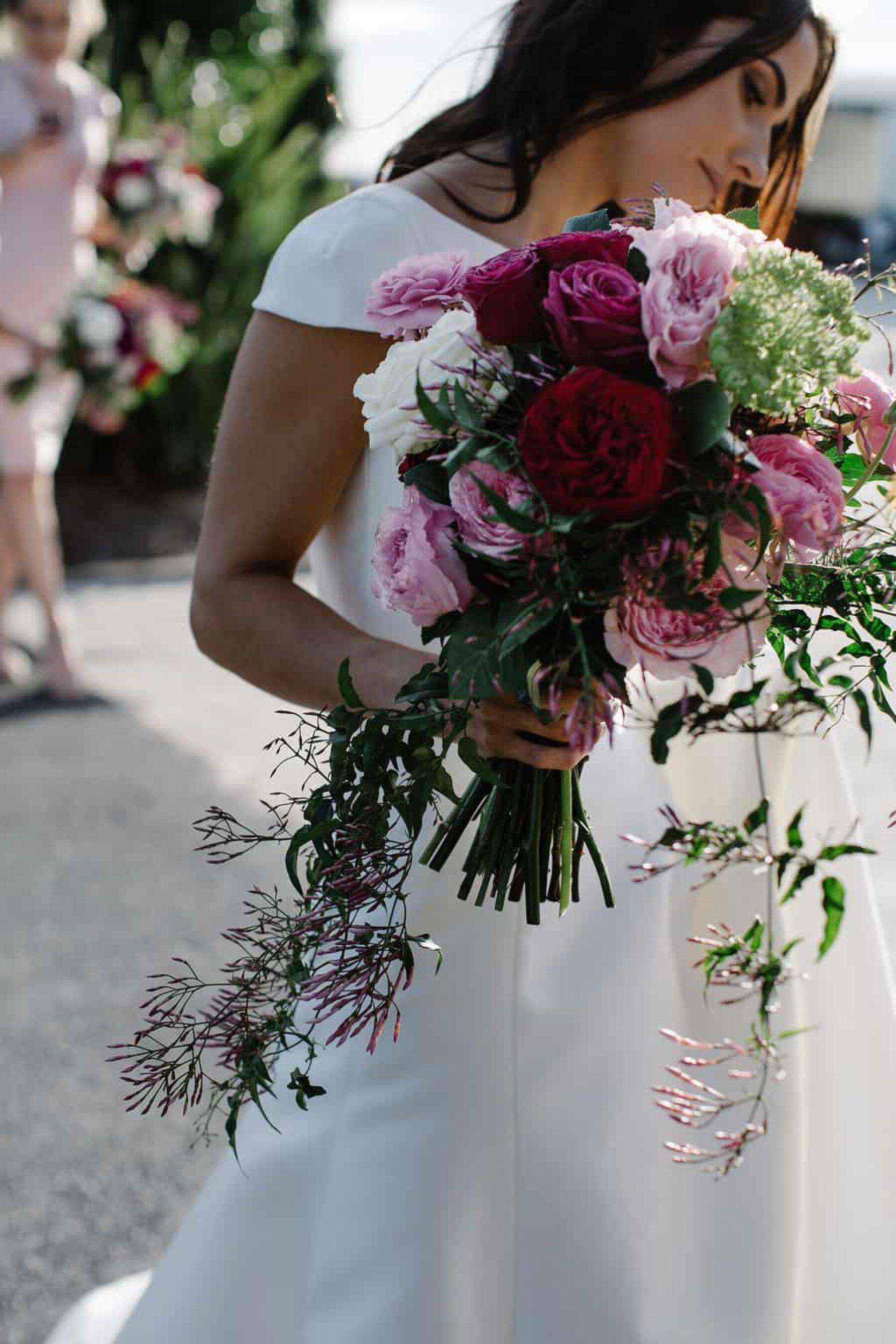 cascading magenta bouquet