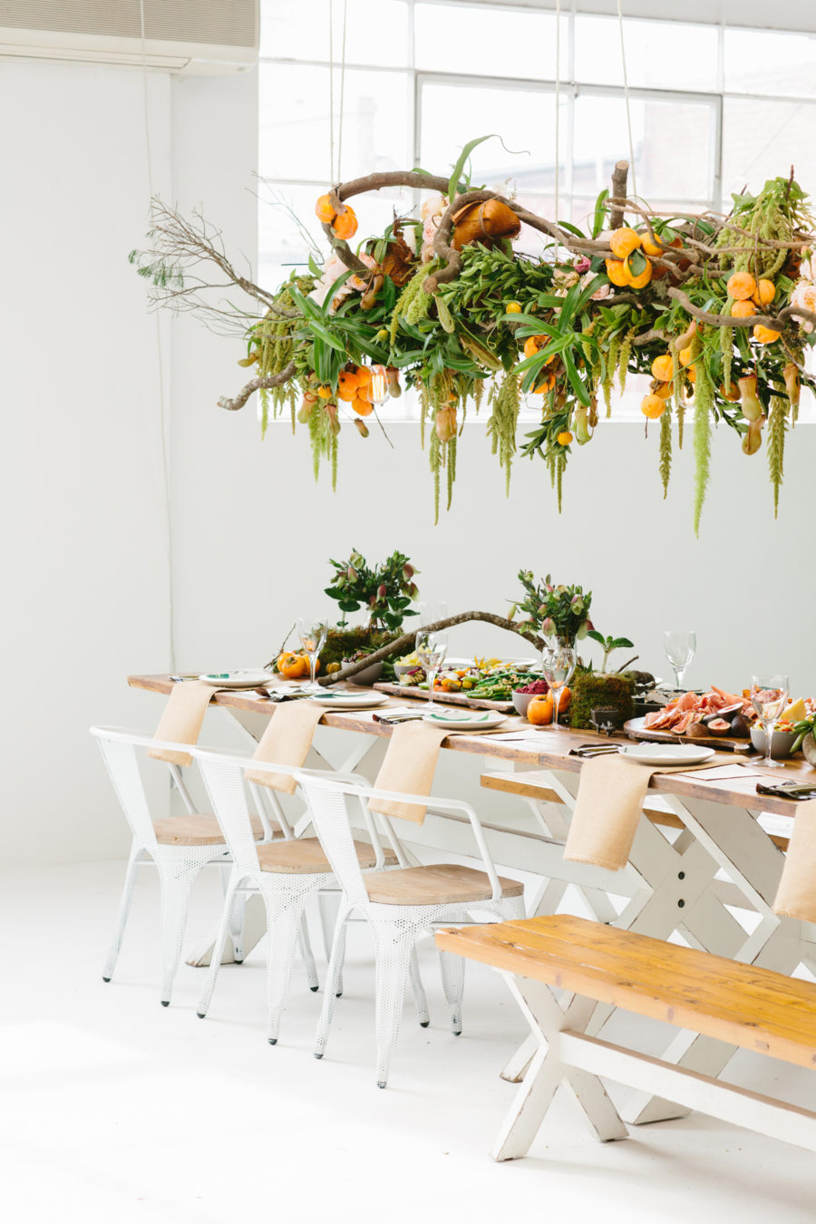 modern-rustic tablescae with floral canopy