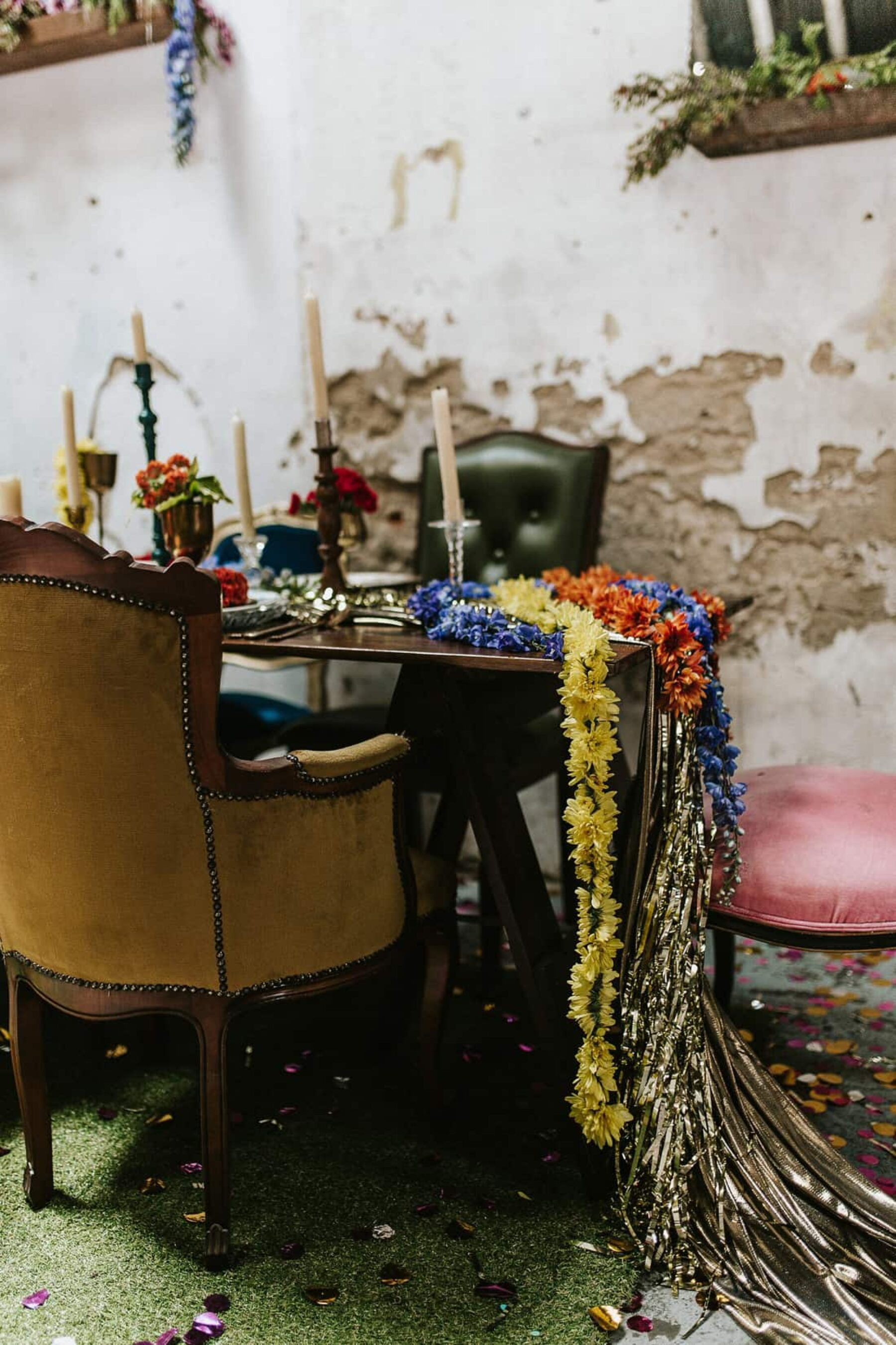Colour Explosion - vitage/industrial wedding at Church of Bang Bang Boogaloo