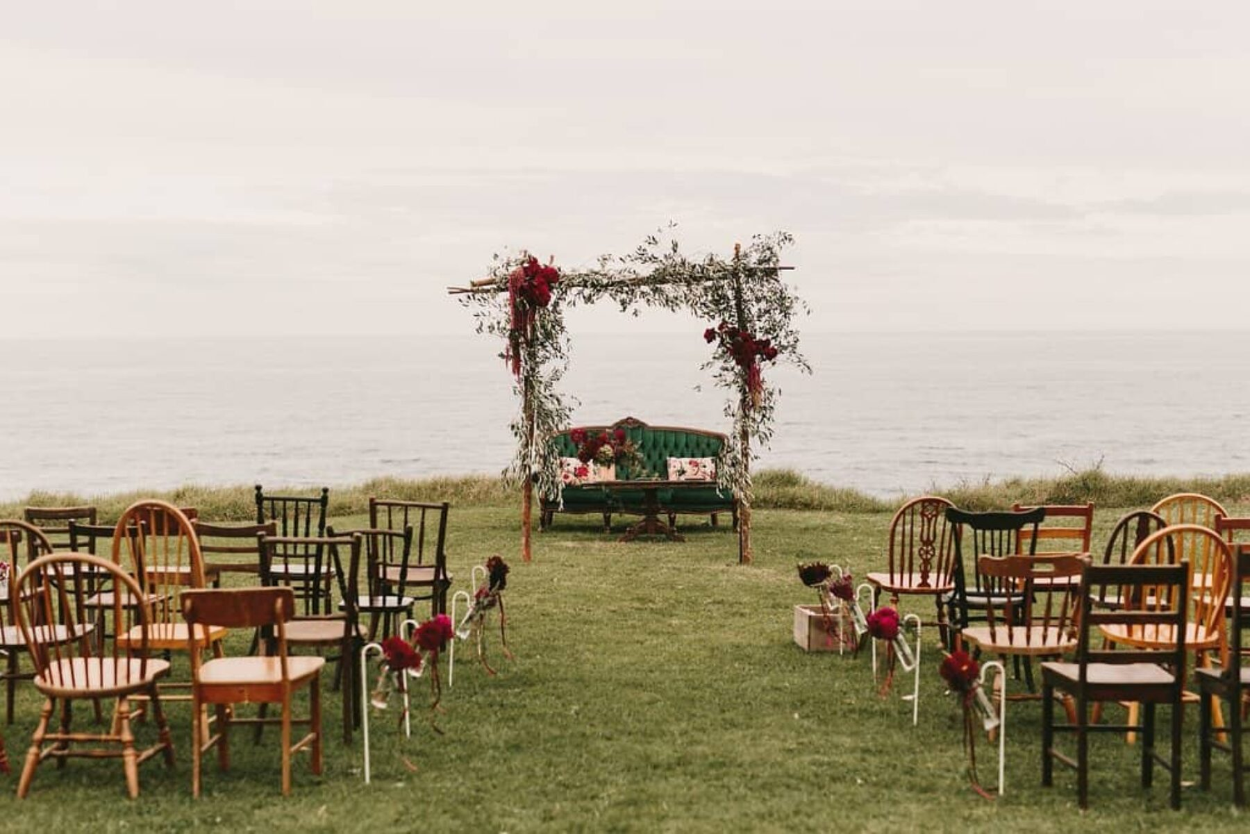 cliff top wedding floral arch