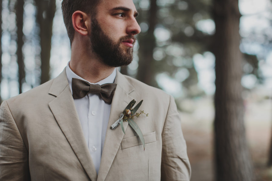 vintage groom with eucalyptus boutonniere