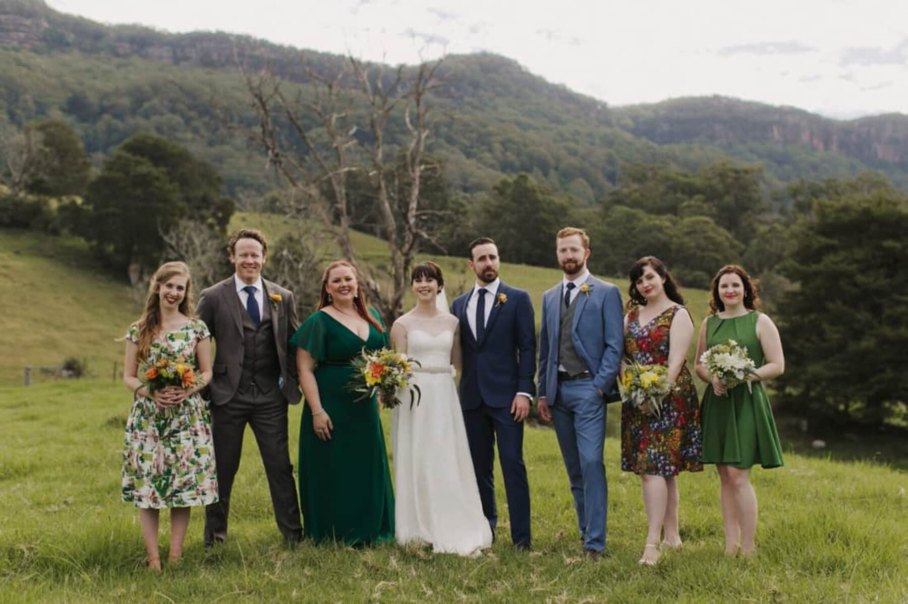 vintage mismatched bridal party