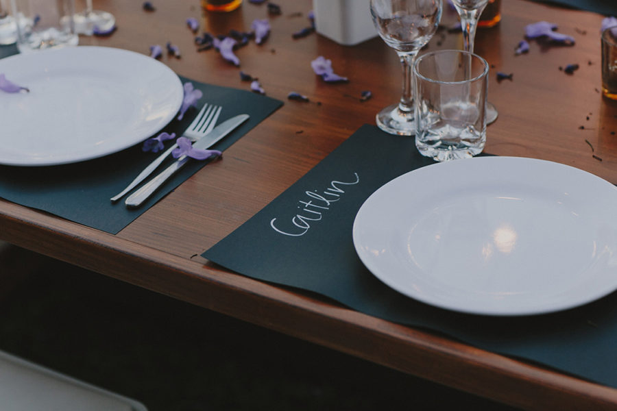 hand-lettered place settings