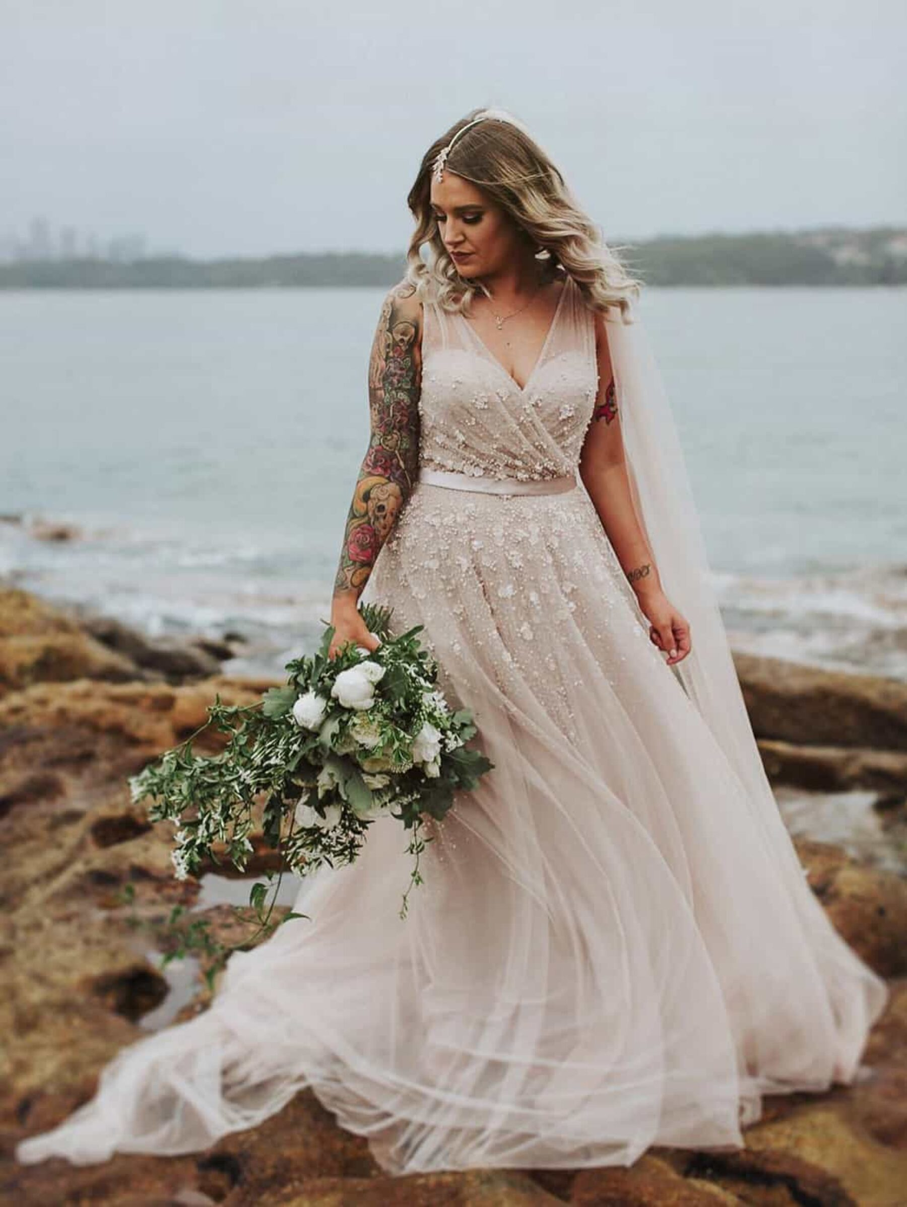 blush wedding dress by Wendy Makin