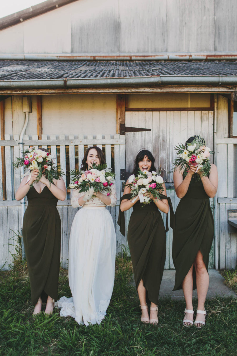 khaki bridesmaid dresses