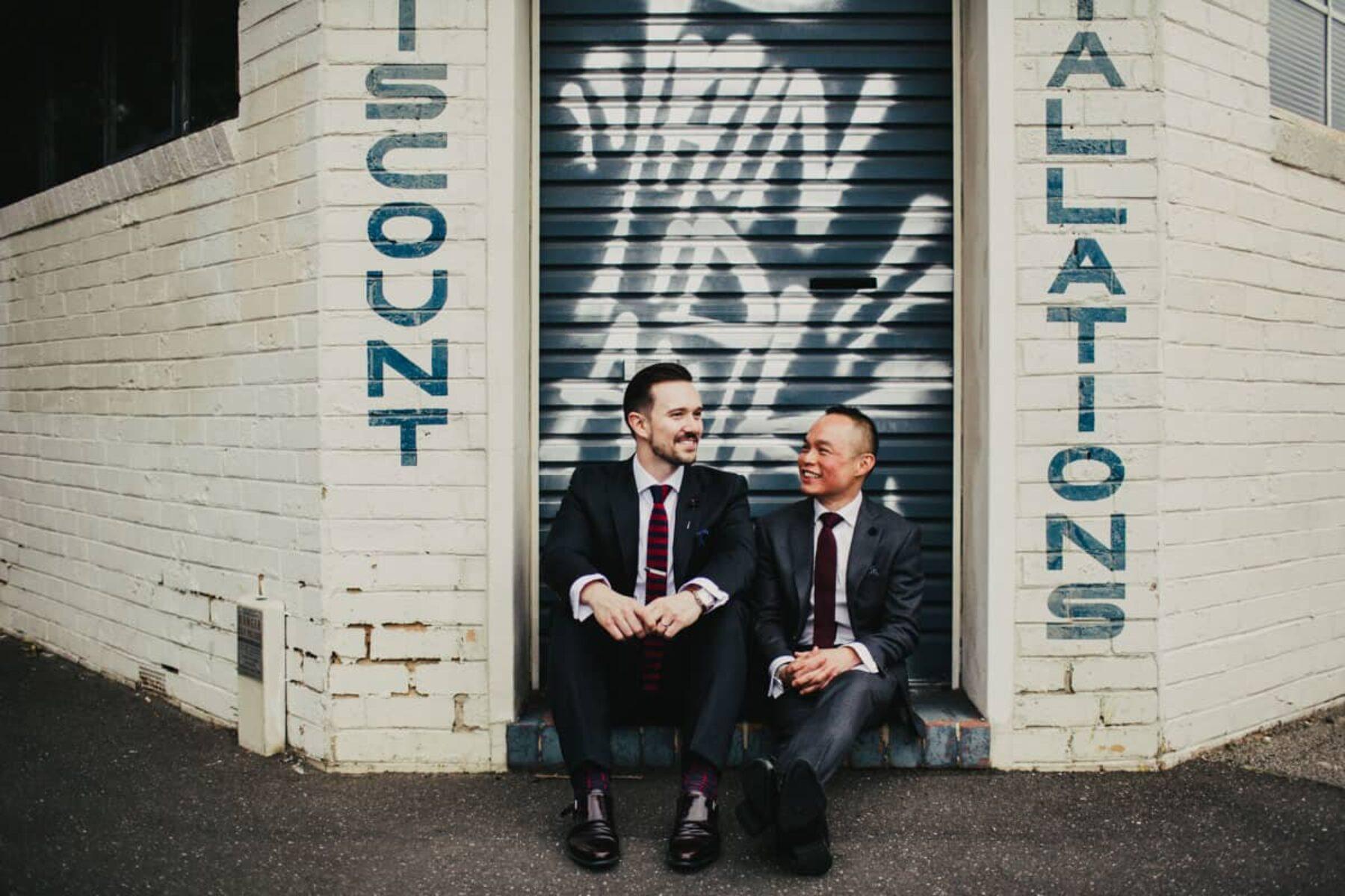 same sex industrial Melbourne wedding