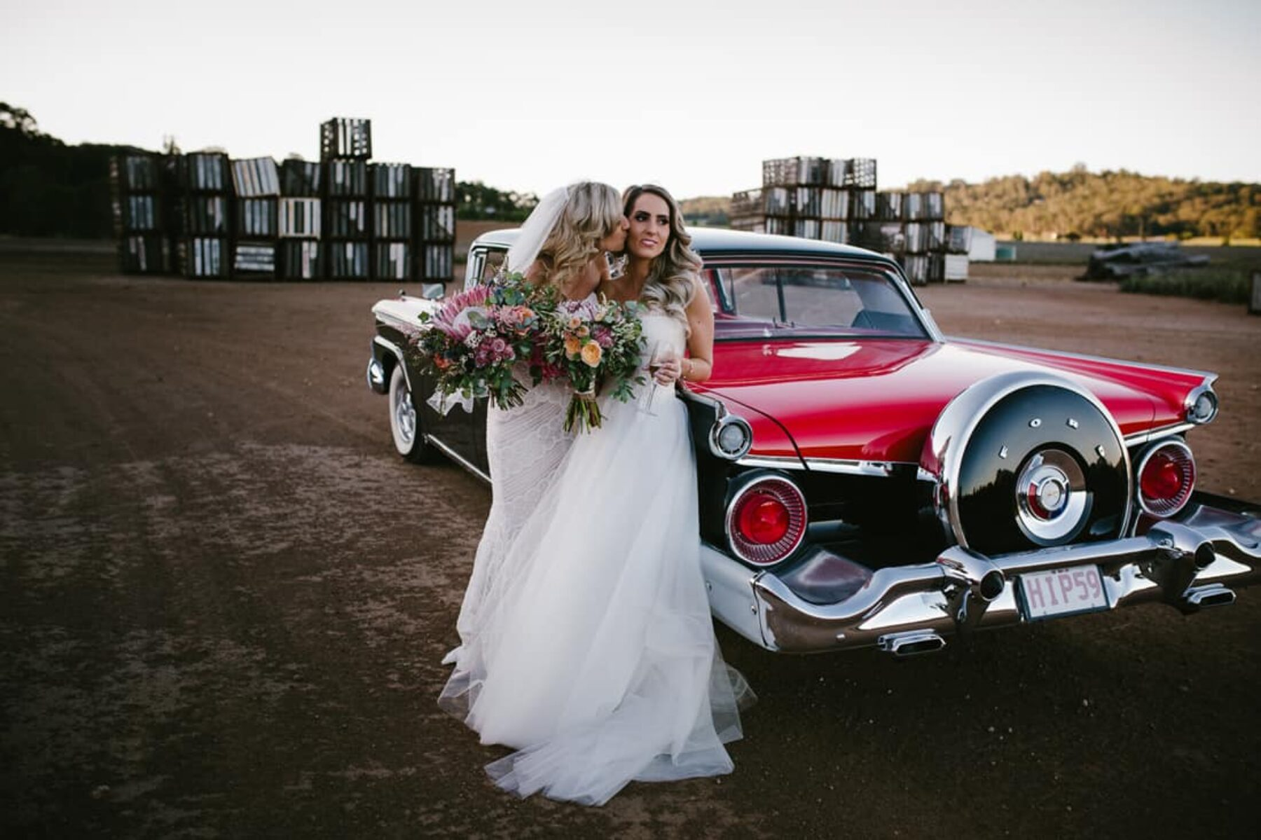 gorgeous brides with vintage wedding car