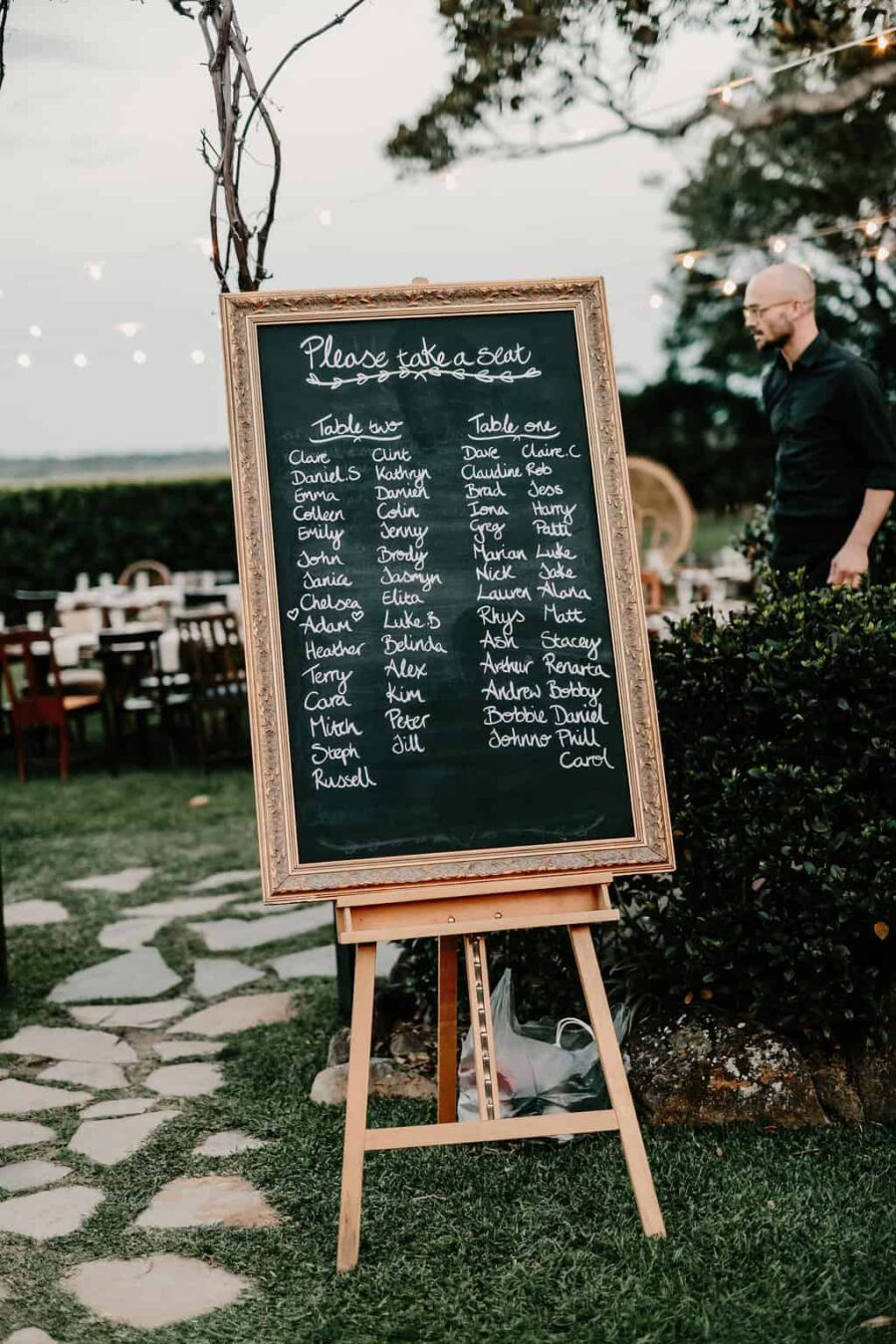 chalk board seating planner