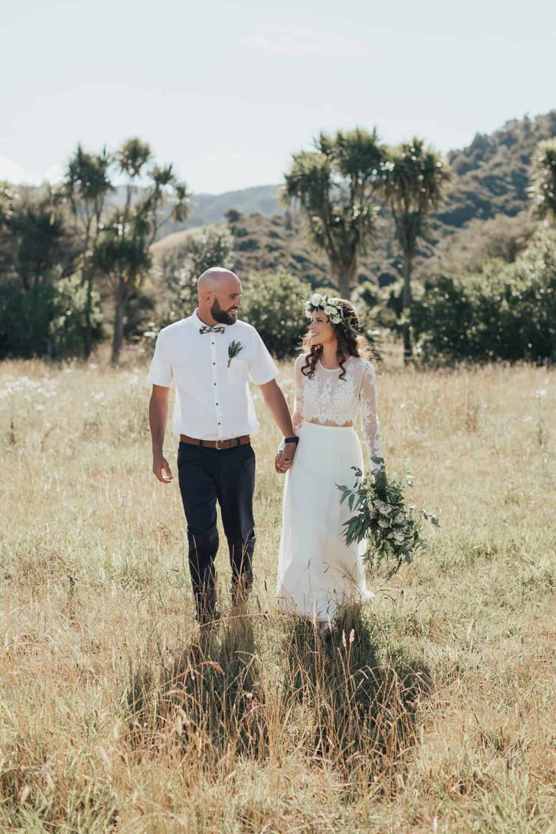 boho bride and groom Whangamata wedding