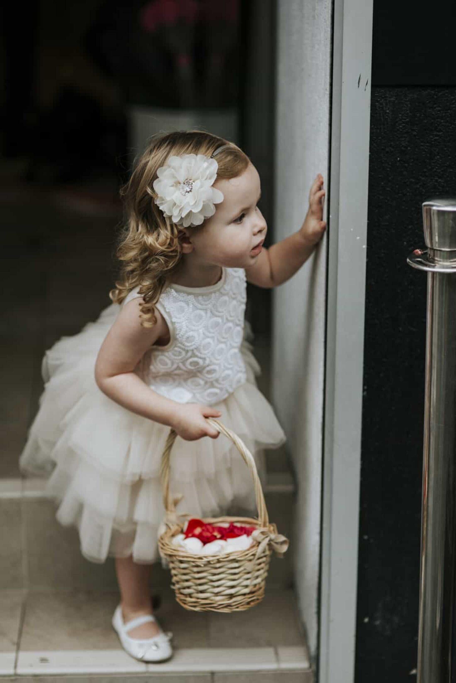 flower girl in ivory tutu