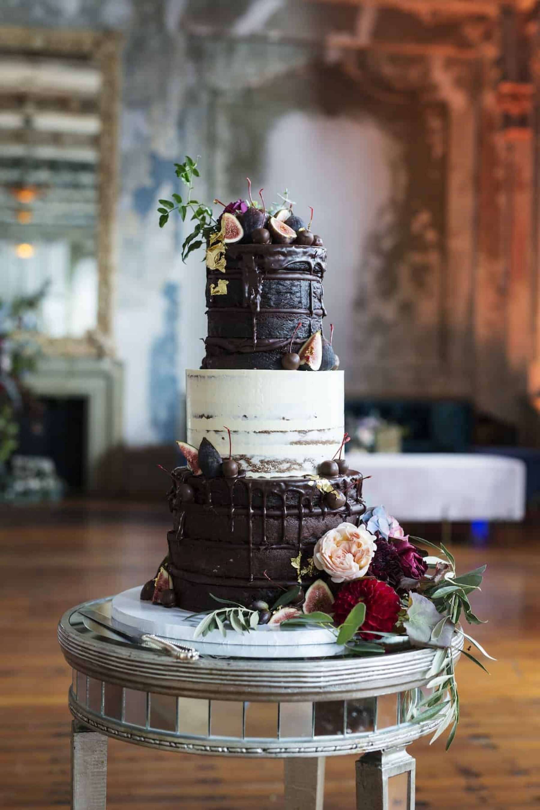 3-tier chocolate wedding cake