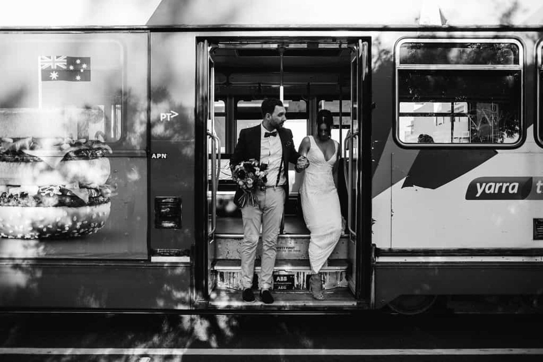 bride and groom on Melbourne tram