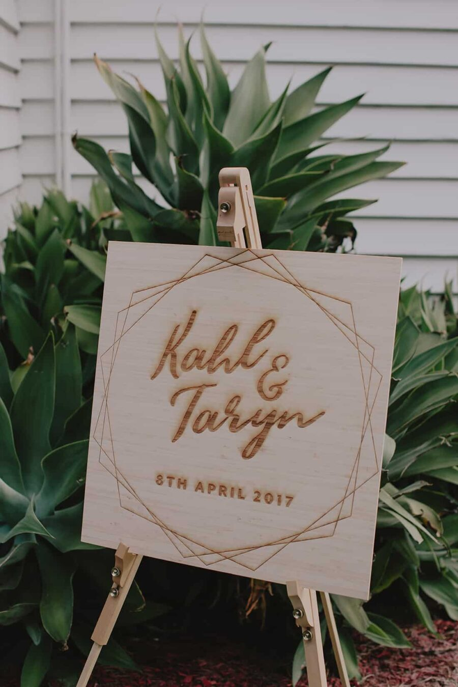 modern laser-cut wedding signage