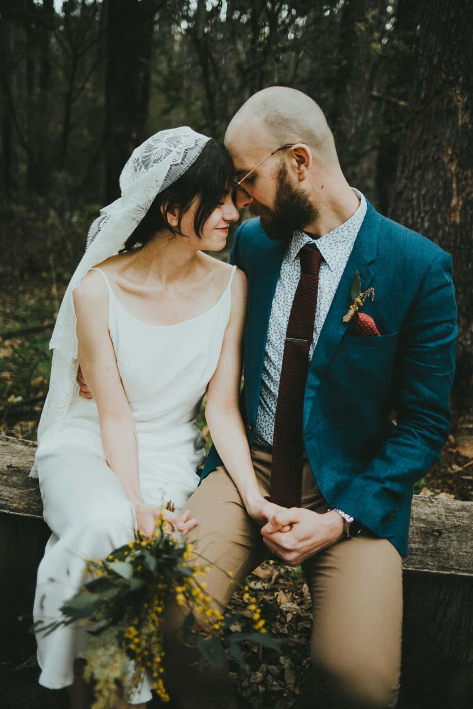 boho bride and hipster groom