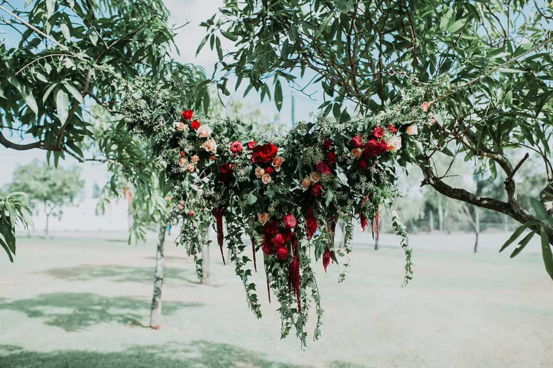 hanging floral wedding backdrop