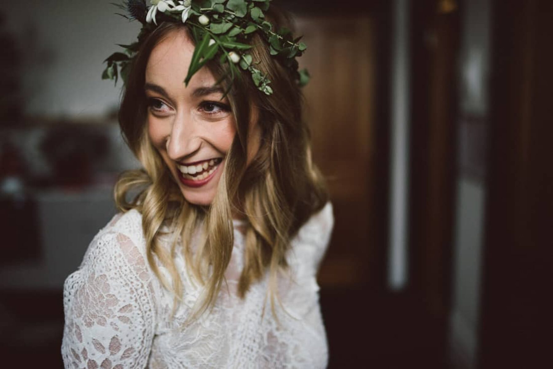 Grace Loves Lace bride with foliage crown