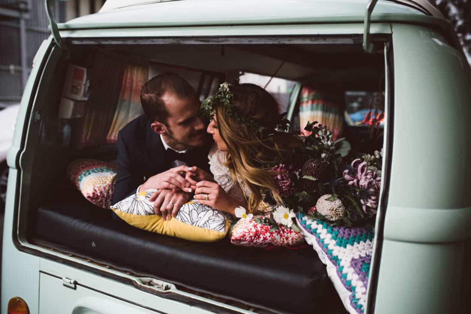 pastel blue vintage wedding kombi