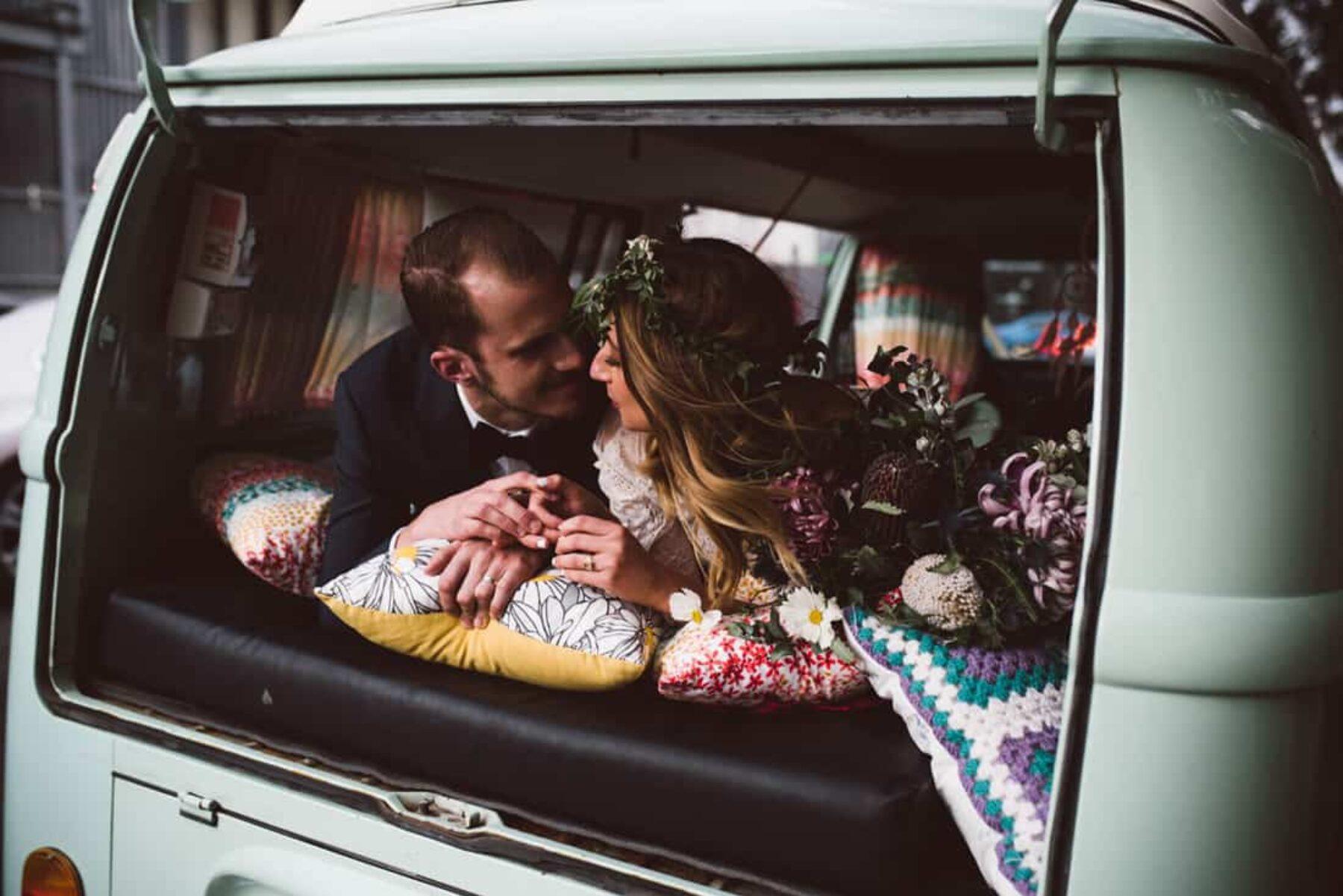 pastel blue vintage wedding kombi