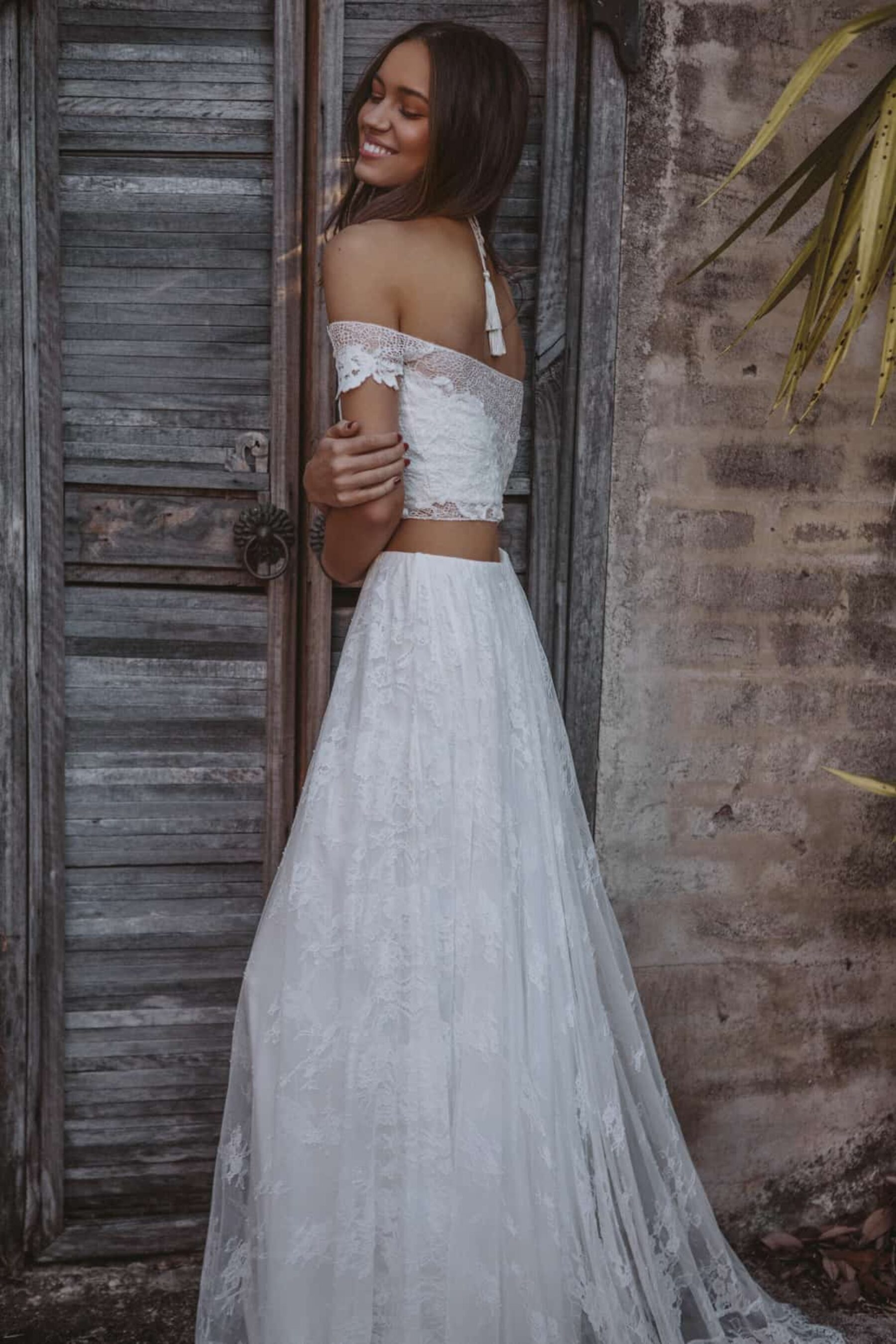 off-shoulder two-piece wedding dress by Grace Loves Lace