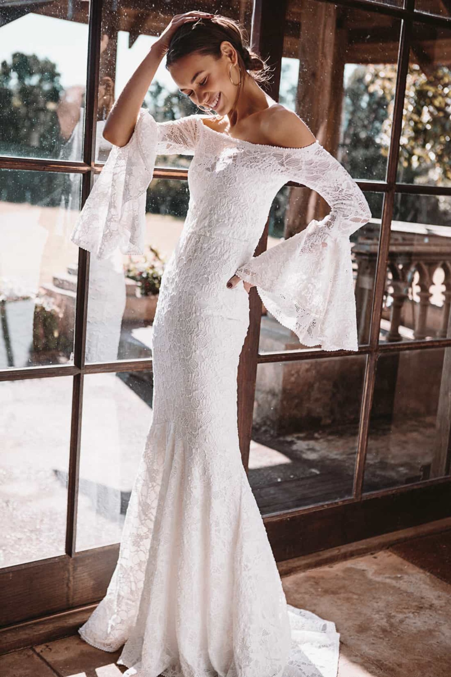 bell sleeve wedding dress by Grace Loves Lace