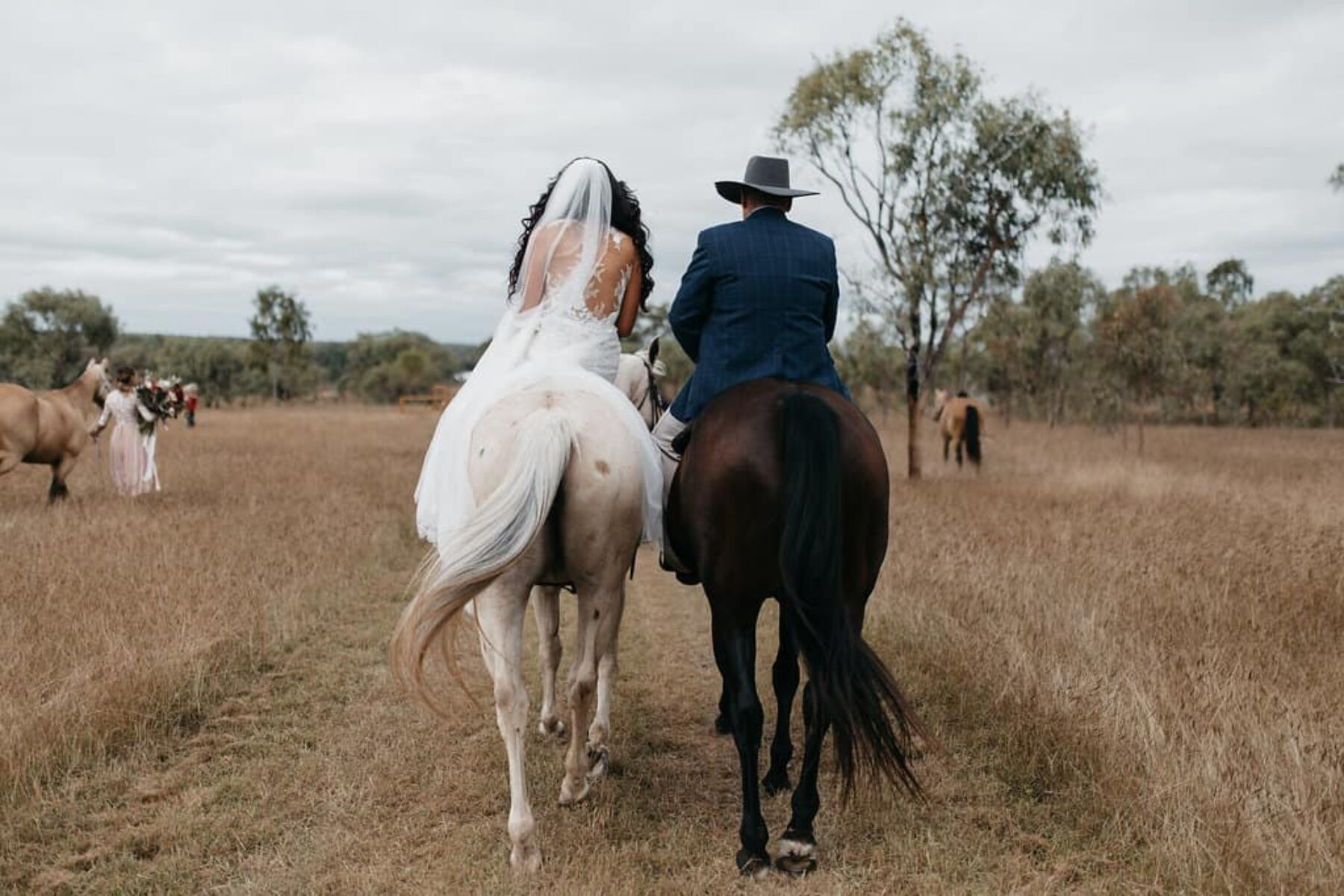 bride arriving on horseback