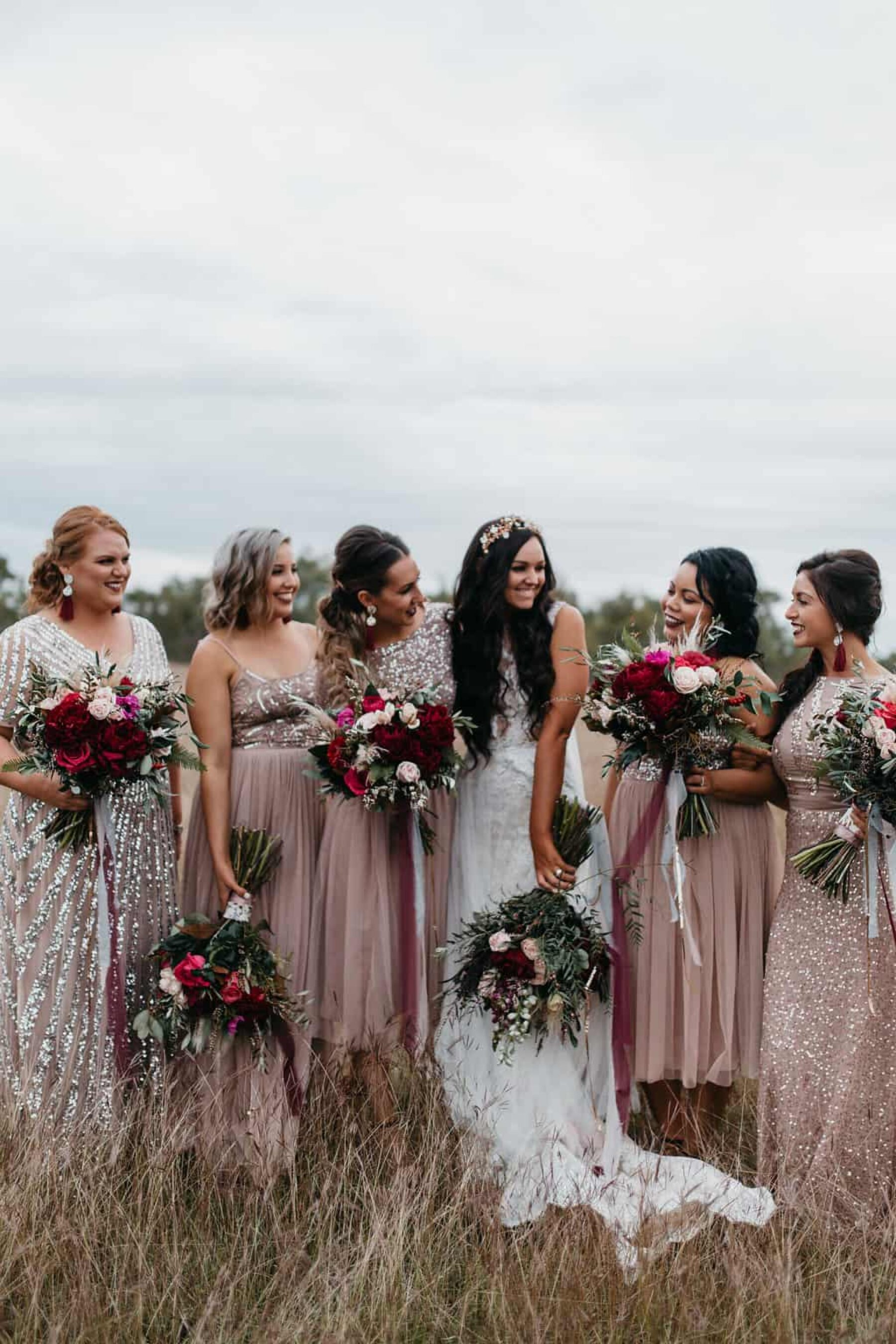 sequinned blush bridesmaid dresses