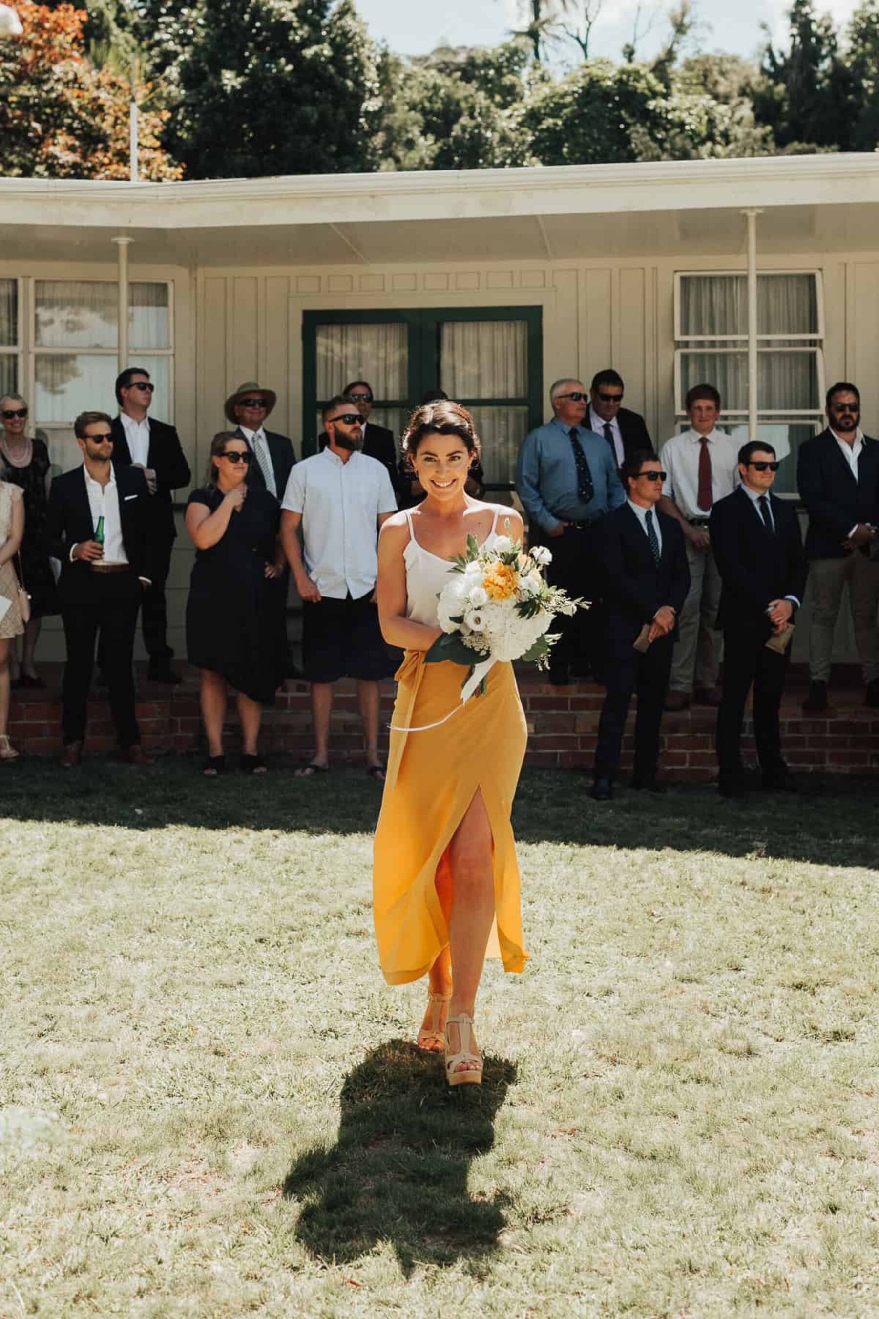 Best of 2017: Bridesmaids | two-tone yellow and white skirt and top