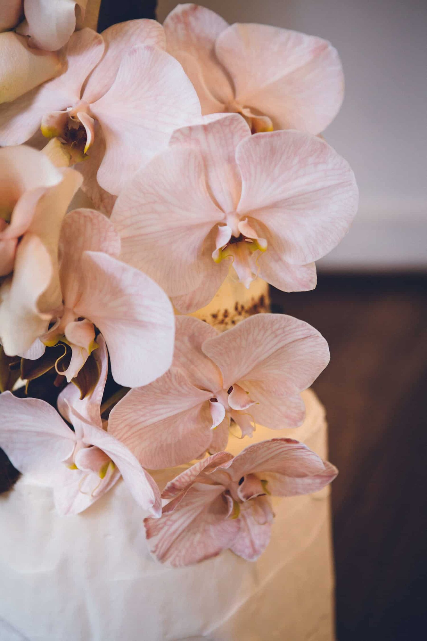 wedding cake with blush-toned orchids