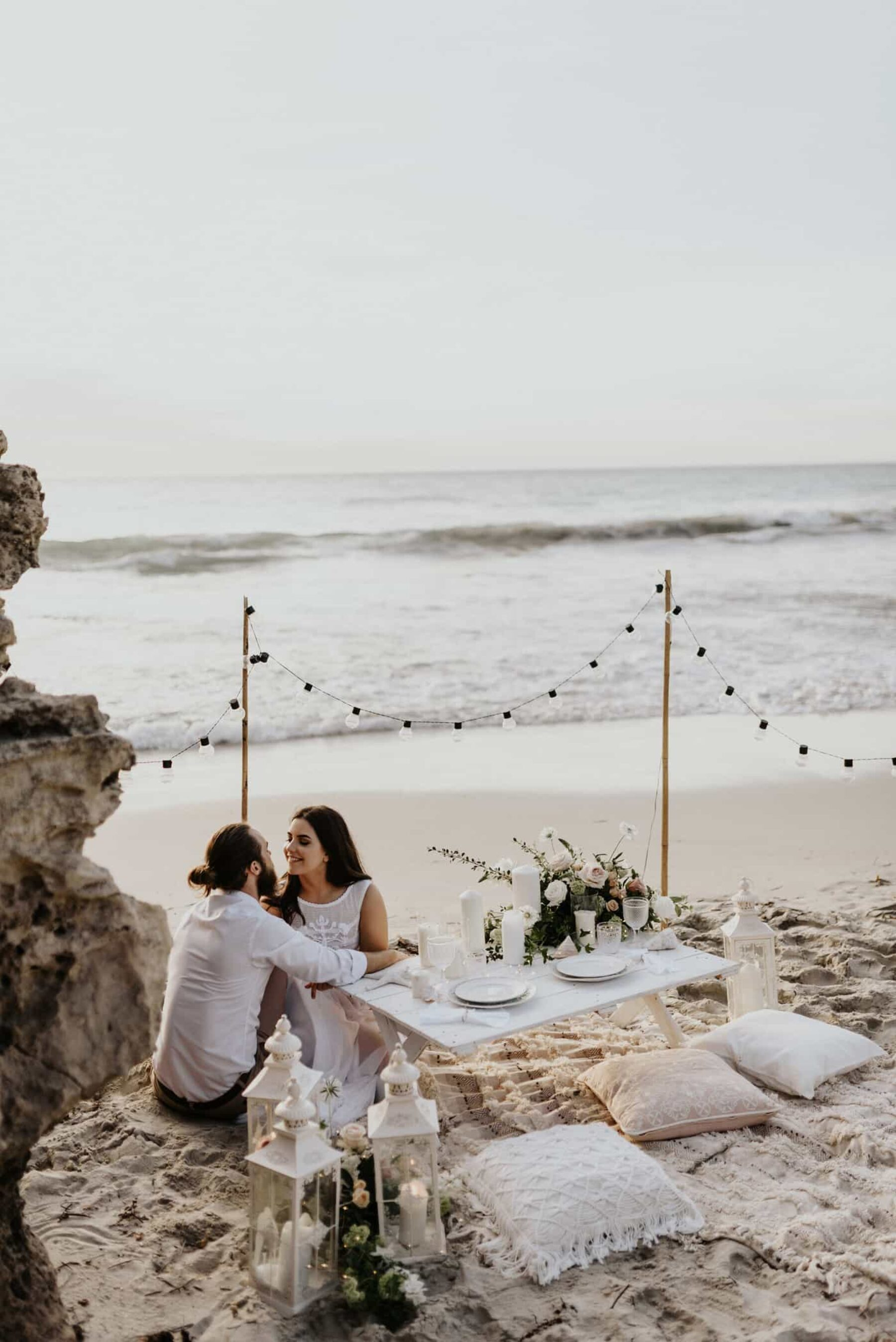 romantic boho beach elopement dinner
