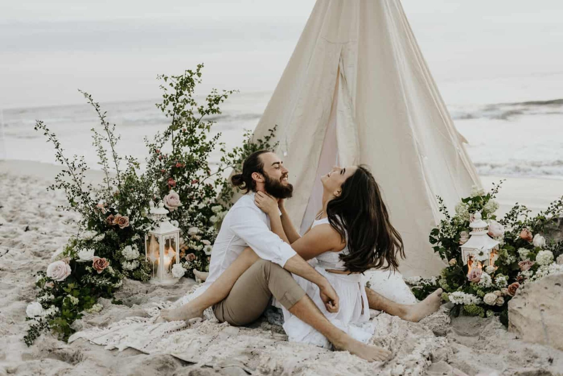 boho beach wedding tipi