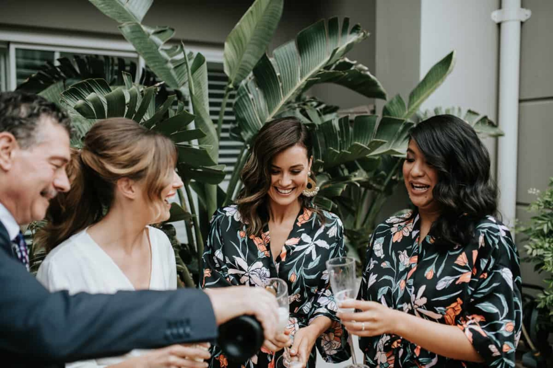 floral bridesmaids' robes