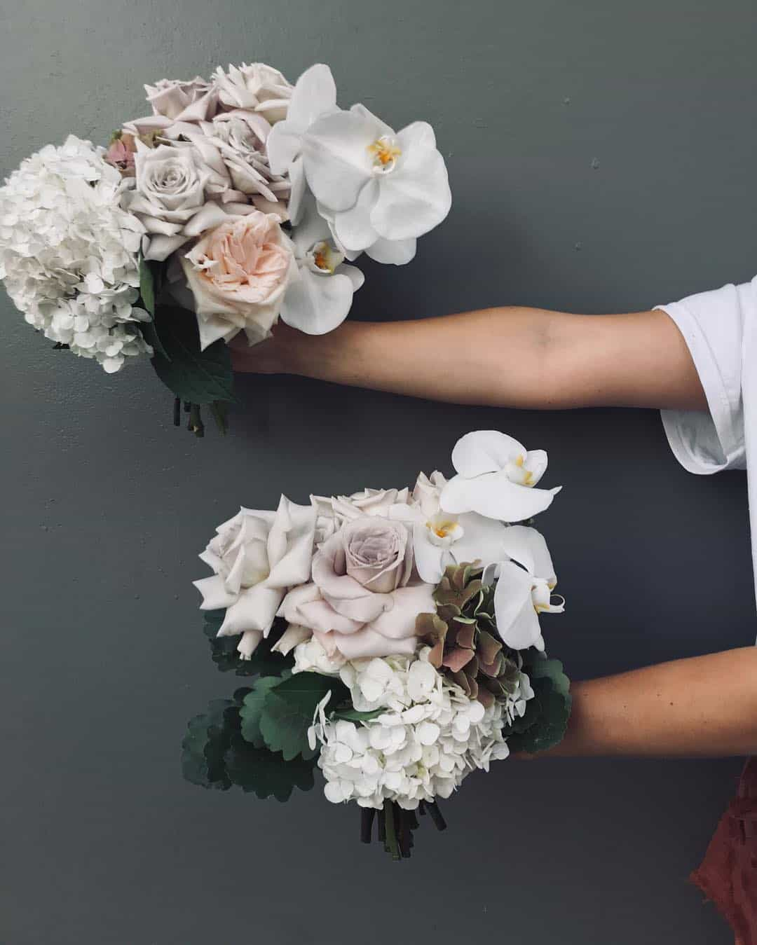 velvety off-white bouquets