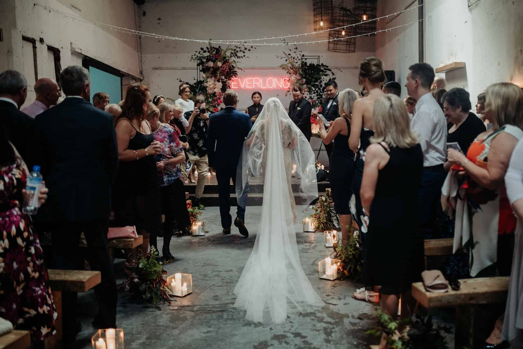 Neon industrial Melbourne wedding at Church of Bang Bang Boogaloo
