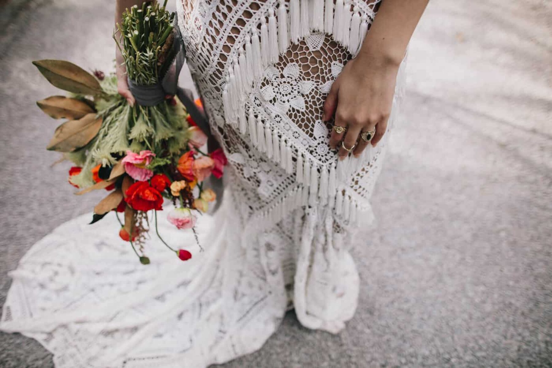 lace fringed wedding dress by Rue de Seine bridal