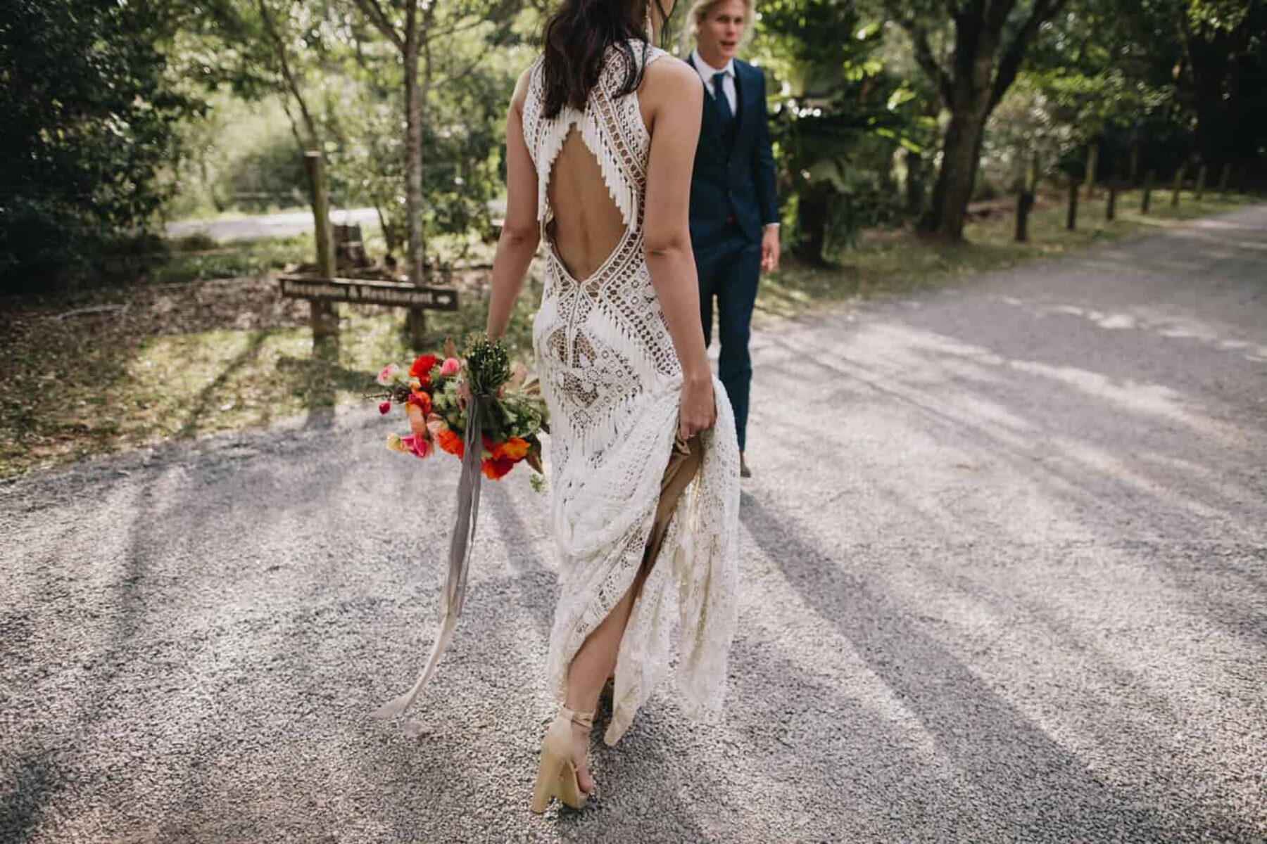 backless lace wedding dress by Rue de Seine bridal