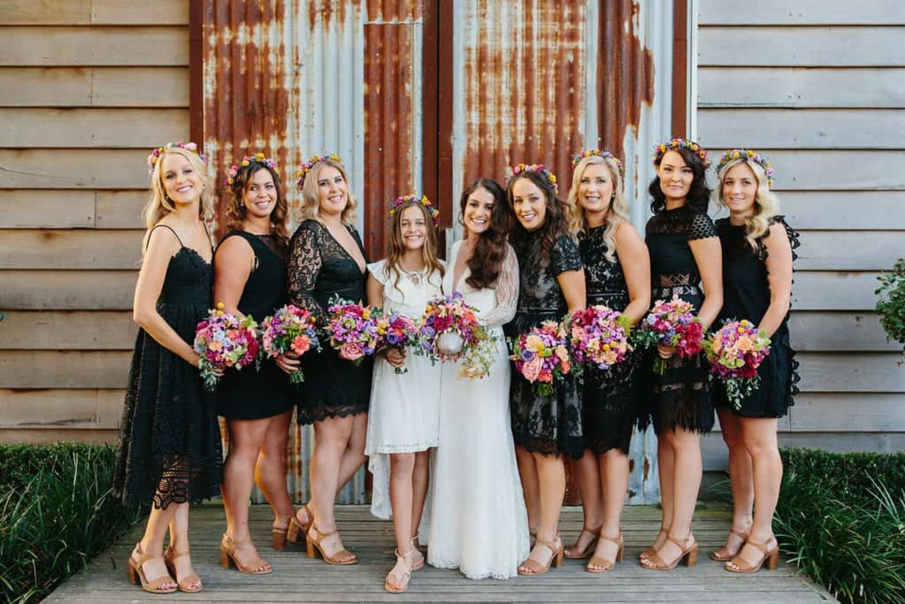 mismatched black bridesmaid dresses