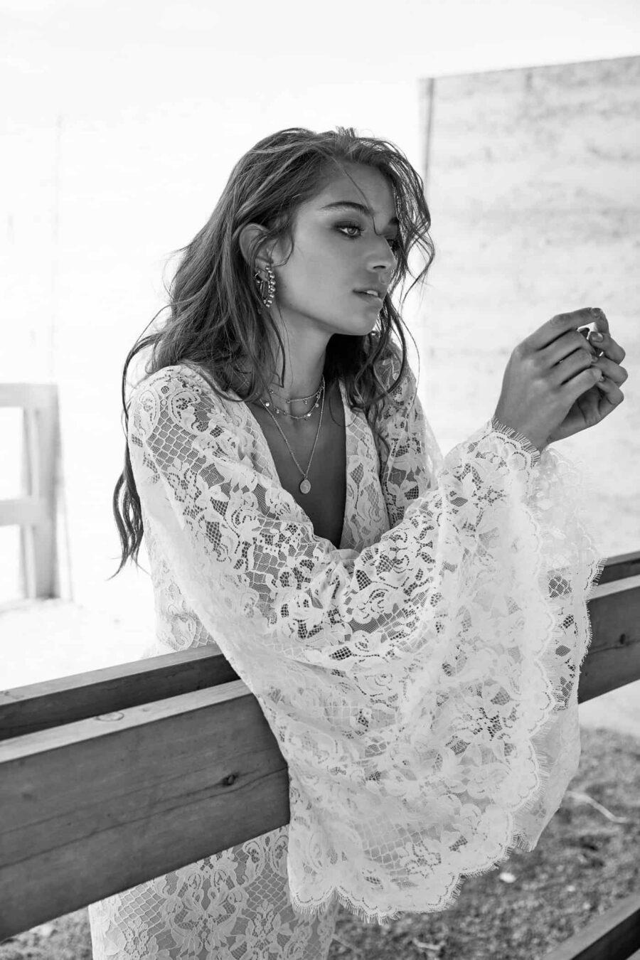 bell sleeve lace wedding dress by CHOSEN