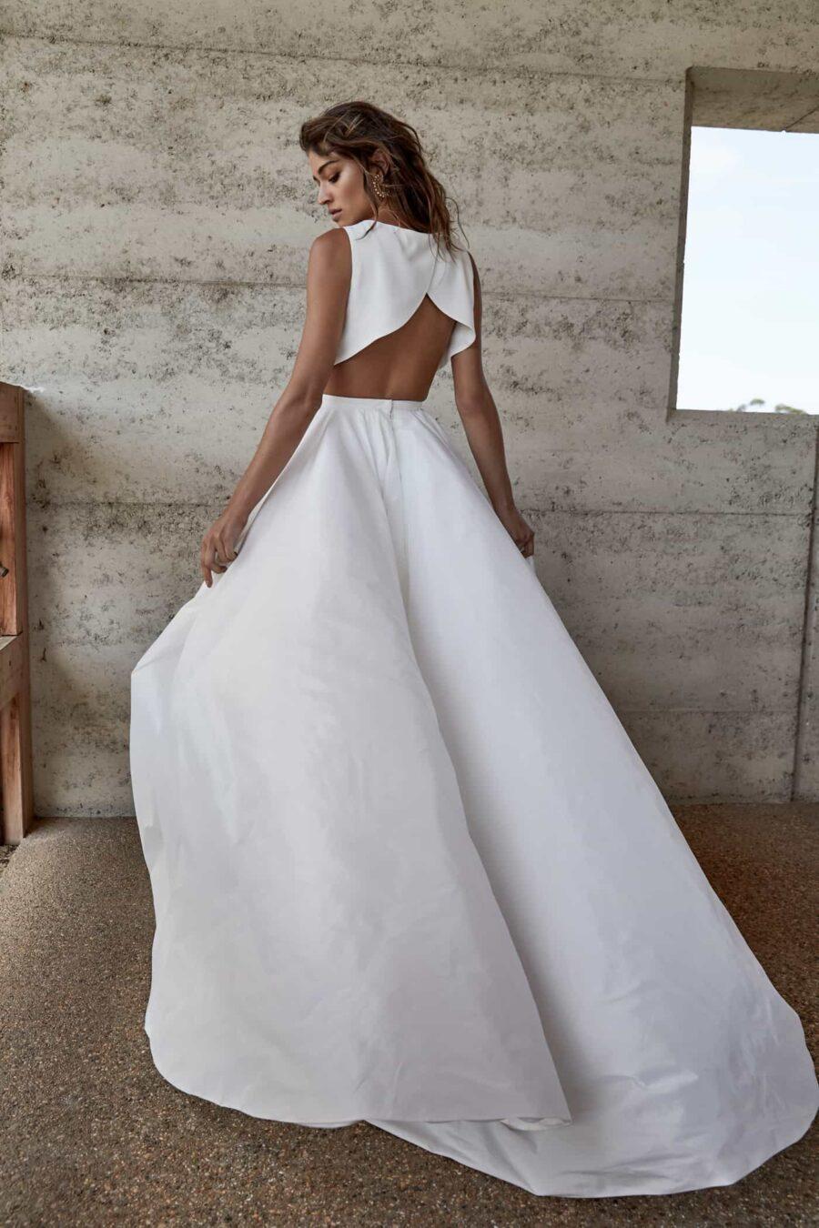 modern two-piece wedding dress with crop top