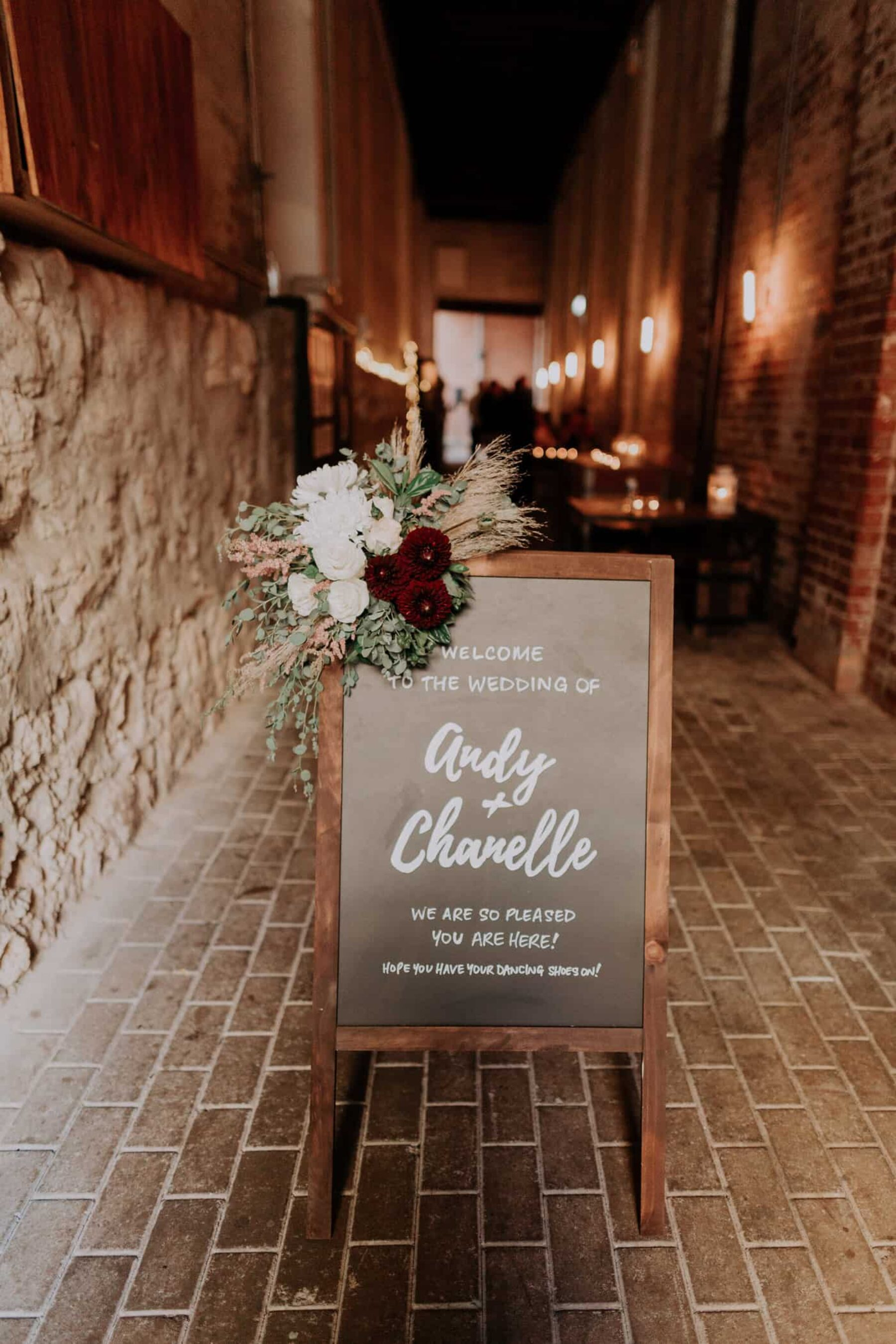 hand-lettered wedding chalk board