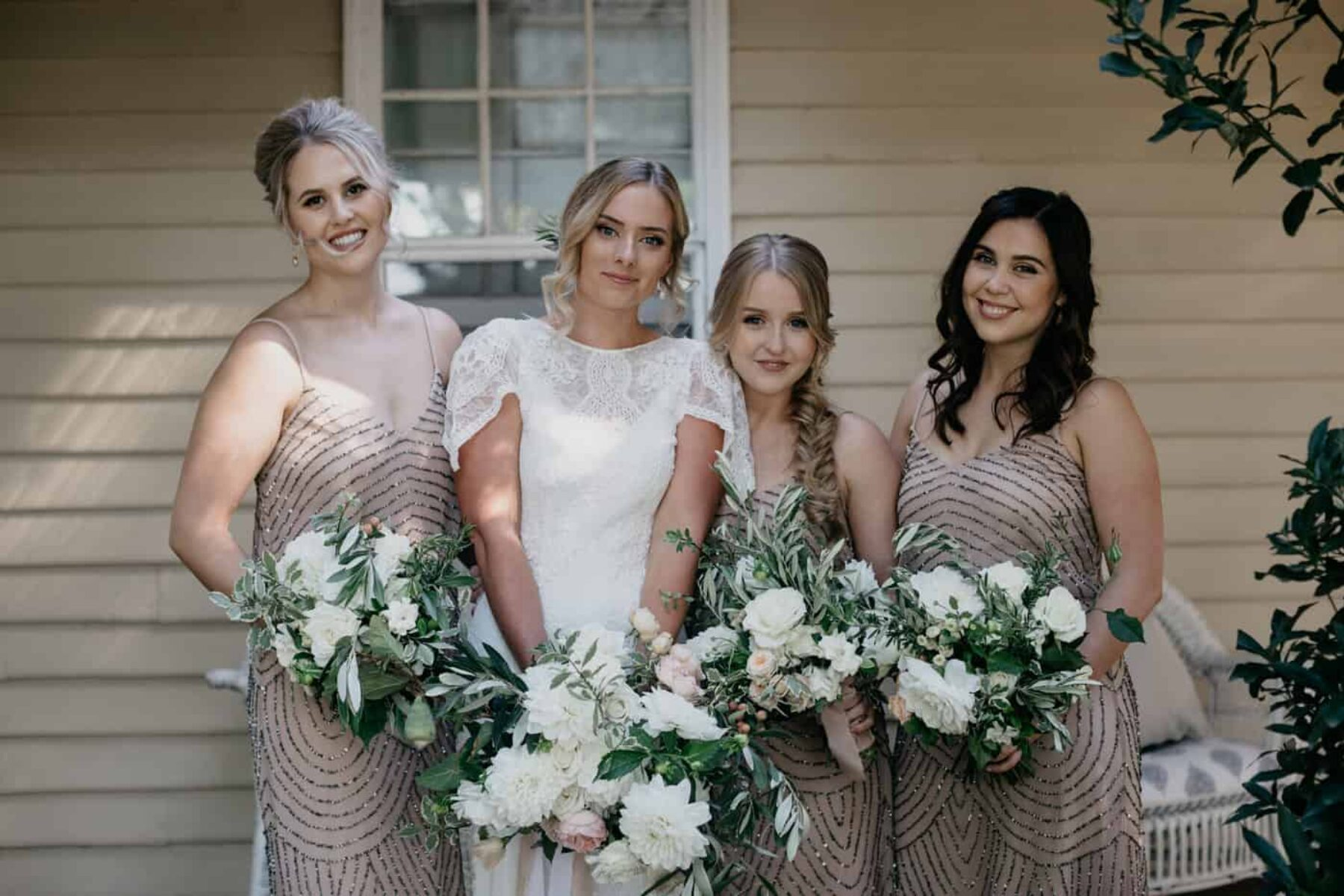 blush sequinned bridesmaid dresses