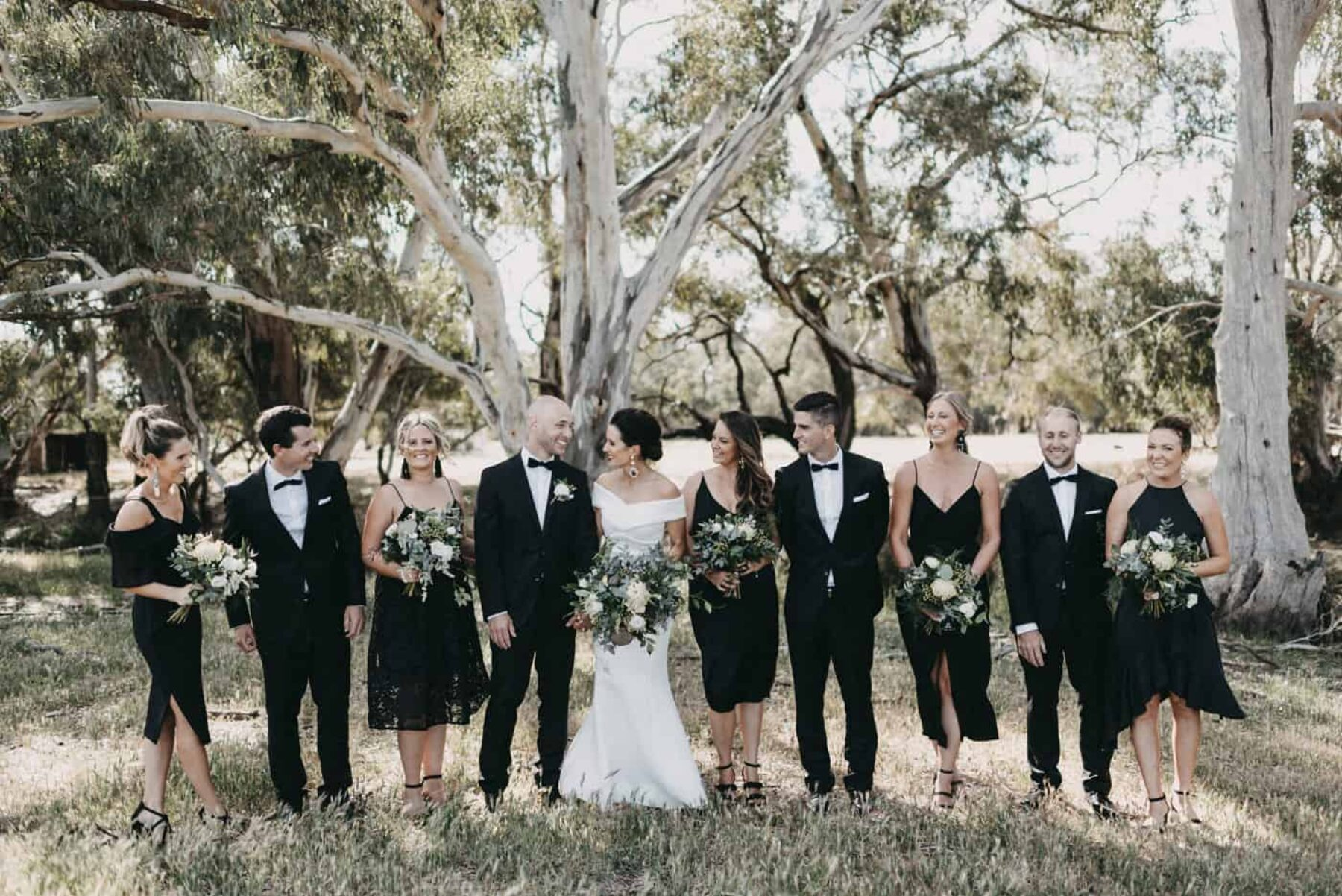 modern all-in-black bridal party
