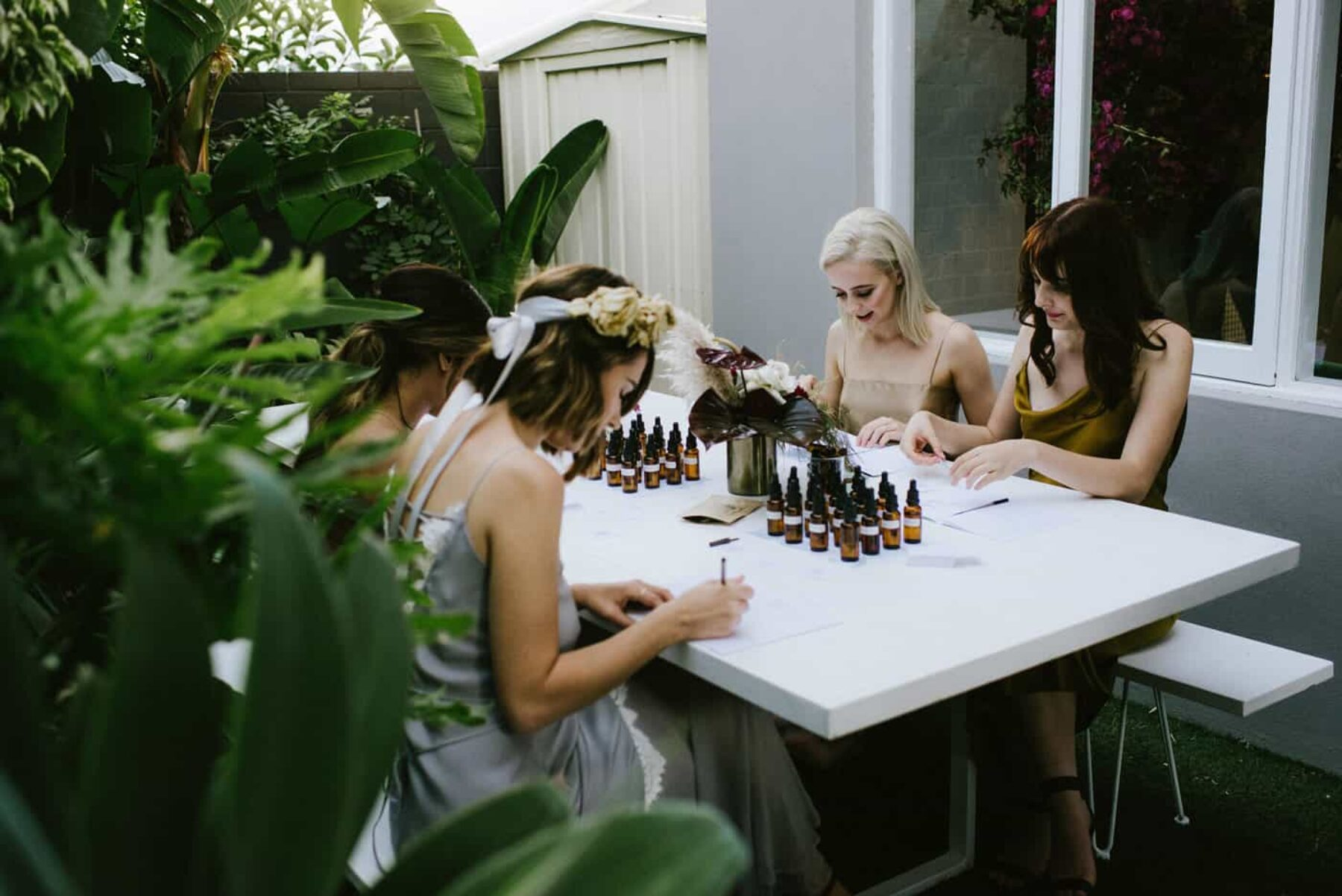 modern bridal shower with perfumery workshop